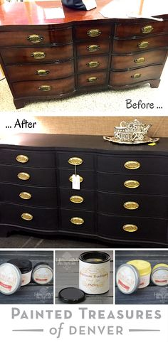 "This Henredon dresser got a fabulous paint makeover with Heirloom Tradition's Black Bean chalk type paint. I sealed it with Jet Black Wax and then Clear Wax and wiped back. I cleaned the hardware pulls by soaking them in a crock pot of 50/50 vinegar and water, then polished with Mr. Metal wipes. Get these colors  from http://heirloomtraditionspaint.mybigcommerce.com/ with coupon code ""PAINTEDTREASURES"""
