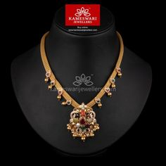 Nrita Navaratna With CZ Necklace Gold Jewellery Design, Gold Jewelry, Bridal Jewelry, Gold Necklaces, Gold Bangles, Gemstone Jewelry, Silver Earrings, Pearl Necklace Designs, Necklace Ideas