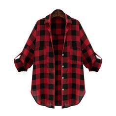 Lapel Plaid Buttons  Blouse (€13) ❤ liked on Polyvore featuring tops, blouses, shirts, jackets, red, shirts & blouses, red collar shirt, elbow sleeve shirt, plaid blouse and half sleeve shirts