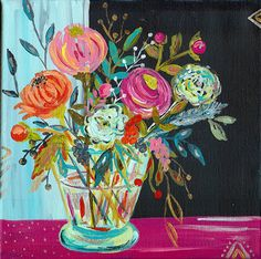 """Bouquet Series No. 4 12"""" x 12"""" art print from painting by Bari J. by BariJ on Etsy https://www.etsy.com/listing/215308434/bouquet-series-no-4-12-x-12-art-print"""