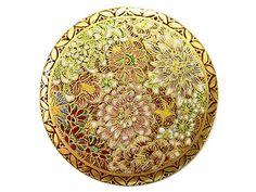金銀青彩色絵陶器 薩摩ボタン(大) 「花詰」#BUTTON