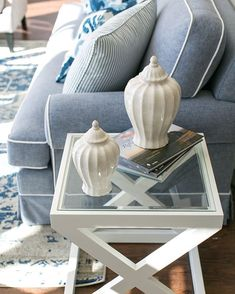 Monday morning inspo with our Vanilija Jars 💙⚓️ These beautiful ginger jars make a perfect accessory to a display, or style on their own with your fave coffee table book - either way they look fantastic! Hamptons Style Homes, The Hamptons, New Farm, Living Room Color Schemes, Coffee Table Books, Ginger Jars, Room Colors, Photo And Video, Monday Morning