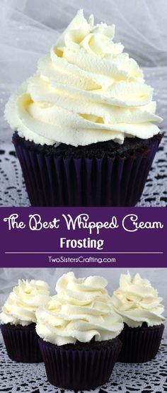 The Best Whipped Cream Frosting - light and airy and delicious and it tastes just like Whipped Cream. But unlike regular Whipping Cream, this frosting holds its shape, lasts for days and can be used to frost both cake and cupcakes. And it is so easy to ma