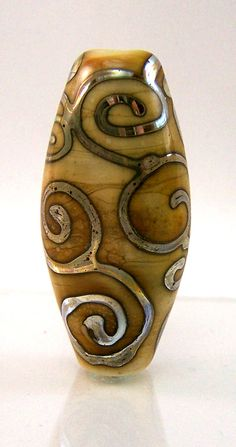 Lampwork Focal Bead with Double Helix Silver Glass Scrollwork on Ivory Tab- Annealed Handmade Glass Bead SRA
