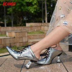 BEANGO Strange Heel Slide Women Shoe Pointed Close Toe Cross Tied Slippers Sandal Women Spell Color Gladiator Women Slipper Shoe #Affiliate