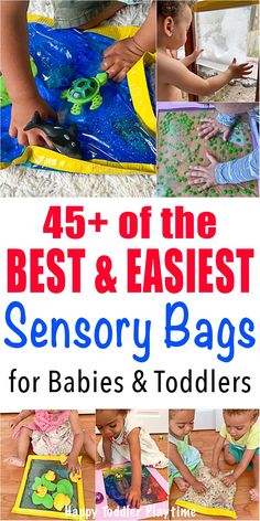45 Sensory Bags for Babies & Toddlers - HAPPY TODDLER PLAYTIME Looking for a fun and easy way to entertain your little one? Check out these easy to make and fun sensory bag ideas for babies and toddlers! Sensory Activities Toddlers, Infant Activities, Activities For Kids, Parenting Toddlers, Montessori Activities, Motor Activities, Indoor Activities, Toddler Fun, Toddler Preschool
