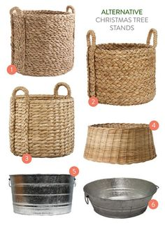 Wicker basket or steel bucket for tree stand