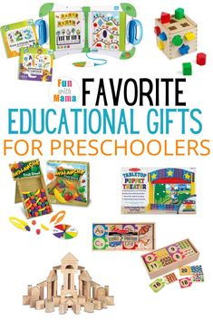 If you're looking for a gift idea, check out this great list of our best educational toys for preschoolers. They're great learning toys, too! Educational Activities For Toddlers, Preschool Toys, Educational Toys For Kids, Montessori Toys, Toddler Preschool, Toddler Fun, Toddler Gifts, Diy Sensory Board, Kids Toys For Boys