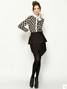 Black Cotton Blends Constrast Lapel Long Sleeve Button Fly Striped Tops JC503-1 US$19.3