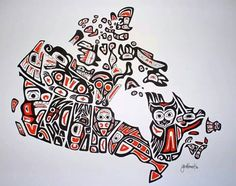Our Home and Native Land - A Canadian First Nations Style Art Map of Canada - inch print Done by a friend- Jen Adomeit Native Canadian, Canadian History, Canadian Artists, Native American Art, Canadian Things, American History, Canadian Symbols, Canadian Culture, Indigenous Education
