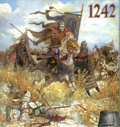 The Battle on the Ice, also known as the Battle of Lake Peipus, April 5, 1242. Novgorod Rus