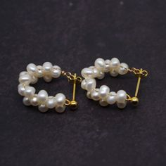 Beautiful and elegant pearl stud earrings. I designed it and made it by hand. Its comfortable to wear, perfect for sensitive skin. It can be a perfect gift for yourself or your friends. Pearl Stud Earrings, Pearl Studs, Pearl Jewelry, Beaded Earrings, Gold Jewelry, Beaded Jewelry, Jewelery, Fine Jewelry, Handmade Jewelry