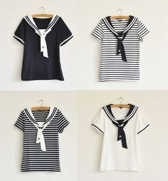 S-L Sailor uniform collar tee sold by Super Animals Temples. Shop more products from Super Animals Temples on Storenvy, the home of independent small businesses all over the world. Sailor Shirt, Sailor Dress, Sailor Collar, Estilo Navy, Nautical Shirt, Estilo Lolita, Sailor Fashion, Moda Casual, Figure Skating Dresses