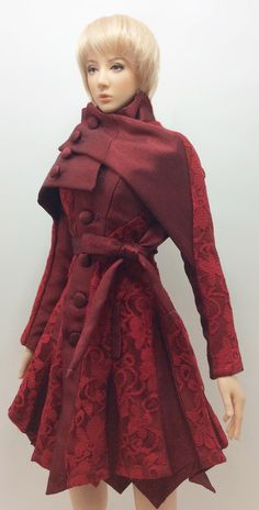 Dress Coat with Lace ''Ash Ra Rose'' (OS-188) OUGI SAIGON order-made fashion studio for  1/3 scale Dolls