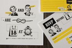 "Funny Wedding invitation set with yellow retro design - ""Tying the knot"" inspired wedding invite. Square Wedding Invitations, Creative Wedding Invitations, Wedding Invitation Sets, Wedding Stationary, Invitation Design, Invitation Ideas, Invitation Suite, 50s Wedding, Wedding Humor"