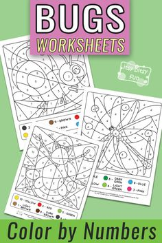 Color by Number - Bugs Worksheets - Numbers to 10 Best Picture For Arthropods unit study For Your Ta Activity Sheets For Kids, Printable Activities For Kids, Insect Activities, Math Activities, Colour Activities, Number Worksheets, Worksheets For Kids, Homeschool Worksheets, Alphabet Coloring Pages