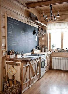 A Rustic Style Kitchen With Some Unique Characteristics Including Chalkboard Backsplash Http