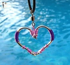 The ORIGINAL FISH HOOK HEART Necklace - Pink and Purple Wire on Silver Hooks - Wedding nacklaces (*Amazon Partner-Link)