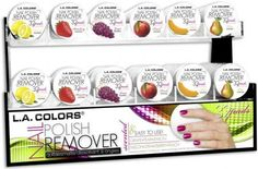L.A. Colors Nail Polish Remover Pads! I knew that they had several scents but I had NO idea they had near this many perfect to use with L.A COLORS nail polish! both amazing things can be found about any where for just a 1$. the only I have used is pear. I love it! #nails!