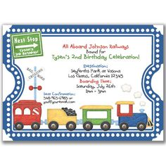 Train Ticket Invitations For Kids Birthday Party Or Baby By Milelj