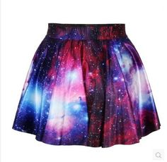 Fashion galaxy gradient color pleated cute skirt