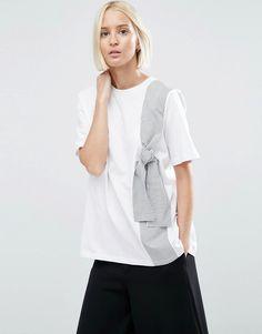 Image 1 ofASOS WHITE T-Shirt With Stripe Tie Detail