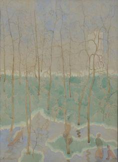 Léon Spilliaert (1881-1946) - Baigneuses dans le parc Mario Hendrika, aquarelle sur papier, ca. 1917