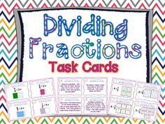 DIFFERENTIATED Dividing Fractions Task Cards using visual models and meeting Common Core Standards for grade. Bonus posters included that demonstrate how to divide with visual models. Dividing Fractions, Math Fractions, Equivalent Fractions, Multiplication, Maths, Math Resources, Fraction Activities, Math Games, Sixth Grade Math