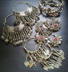 Bejeweled vintage tribal Afghani hoop earrings from Silk Road Tribal. Old world jewelry for your tribal belly dance costuming.