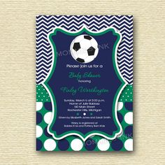 Chevron and Polka Dot Soccer Baby Shower Invitation - PRINTABLE INVITATION DESIGN on Etsy, $14.67 AUD