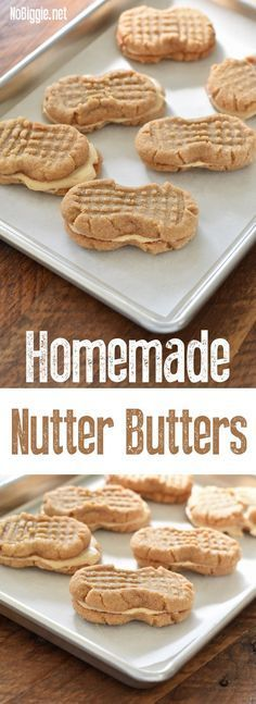 Homemade Nutter Butter Cookies warm and soft straight from your oven. We're making Homemade Nutter Butters…sure you can pick up a p. Peanut Butter Sandwich Cookies, Nutter Butter Cookies, Peanut Butter Recipes, Yummy Cookies, Cookies Soft, Homemade Cookies, Homemade Desserts, Sandwhich Cookies, Almond Butter Cookies