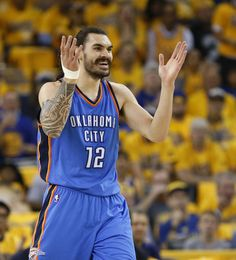 Oklahoma City\'s Steven Adams (12) rects after getting a foul during Game 5 of the Western Conference finals in the NBA playoffs between the Oklahoma City Thunder and the Golden State Warriors at Oracle Arena in Oakland, Calif., Thursday, May 26, 2016. Photo by Nate Billings, The Oklahoman