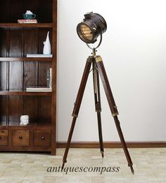 Searchlight Antique Copper Floor Lamp Wooden Tripod Spotlight GAME OF THRONES