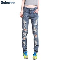 e2476998ed40c 22.71  Buy now - Sokotoo Women s loose plus large size ripped jeans Lady s boyfriend  jeans