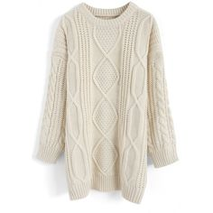 Chicwish Cozy Everyday Cable Knit Longline Sweater in Off-White (€42) ❤ liked on Polyvore featuring tops, sweaters, white, longline tops, off white cable knit sweater, off white top, long line sweater and chunky cable sweater