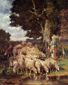 A Shepherdess with her Flock near a Stream [Charles Emile Jacque] Oil Painting Reproduction   Artwork For Sale