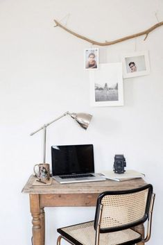 Home Office Ideas for Small Spaces. Minimal small home office size is not an obstacle for workers or entrepreneurs to do business. Currently, when you already have a mobile phone and . Picture Rail Molding, Scandi Living, Branch Decor, Branch Art, Office Workspace, Office Table, Unique Wall Art, My New Room, Minimalist Home