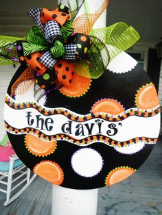 polka dot fun, whimsical happy halloween...ORIGINAL..aDOORable aDOORnments...whimsically designed DOOR jewelry by dillydallie......... $49.95, via Etsy.