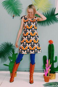"""A-Linien Kleid """"SUOMI"""" in blau orange"""