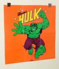 """1974 Incredible Hulk Marvel Comics poster: Rare vintage original 21 by 21"""" 1970's comic book superhero pin-up poster with art by Herb Trimpe"""