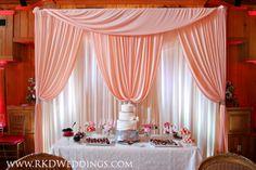 Blush Pink dessert table backdrop draping