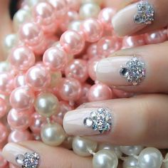 Beautiful nails 2016, Delicate wedding nails, Evening dress nails, Evening nails, Manicure by summer dress, Nails with rhinestones, Nails with stones, Oval nails