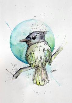 Pájaro amarillo con luna azul