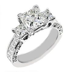 3 Stone Princess Cut Engagement Diamond Ring VVS2/H