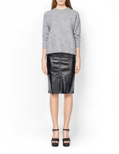 Women's heavy-knit pullover in mohair-blend. Features round neckline and batwing sleeve. Above-hip length. Batwing Sleeve, Knitwear, Leather Skirt, Sequin Skirt, Slim, Women's Skirts, Pullover, Sleeves, Fashion