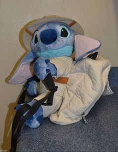 Disney Stitch Plush Safari Backpack Rucksack Bag VERY RARE 12 3/4  #Disney