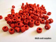 Tube greek ceramic beads orange cylinder beads  set of 50 by OandN, $1.80 #beads #ceramicbeads #jewelrymaking #jewelrysupplies