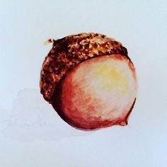 Items similar to Acorn nut watercolor painting wall decor art on Etsy Acorn, Wall Art Decor, Watercolor Paintings, My Etsy Shop, Coconut, Fruit, Ethnic Recipes, Food, Check