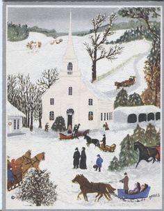 "Vintage Hallmark Christmas Card - Grandma Moses - ""Church Christmas Tree"""