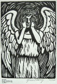 Weeping Angel Doctor Who Handpulled Block Print by FineArtFandom, $8.00